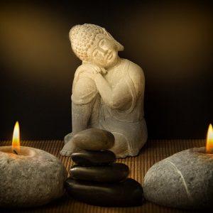buddha, candles, stones