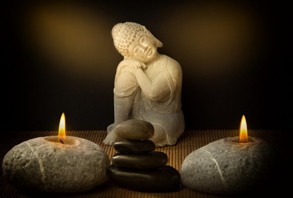 buddha, candles, stones